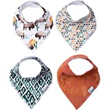 """Baby Bandana Drool Bibs for Drooling and Teething 4 Pack Gift Set """"Bison"""" by Copper Pearl"""