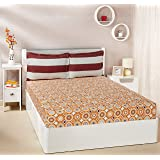 Amazon Brand - Solimo Bubble Bounty 144 TC 100% Cotton Double Bedsheet with 2 Pillow Covers, Orange