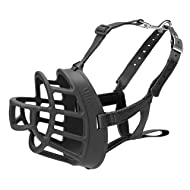 The Company of Animals Baskerville Ultra Basket Dog Muzzle Adjustable and Comfortable Secure Fit - Durable Lightweight Rubber