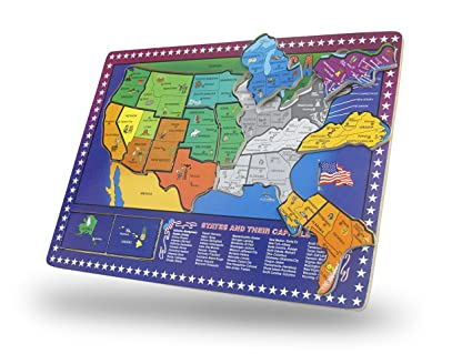 Toy Cubby USA Map Wooden Puzzle - 16 piece Educational Jigsaw Puzzle Wooden  Map United States of America States with Capitals and Key Industry - ...