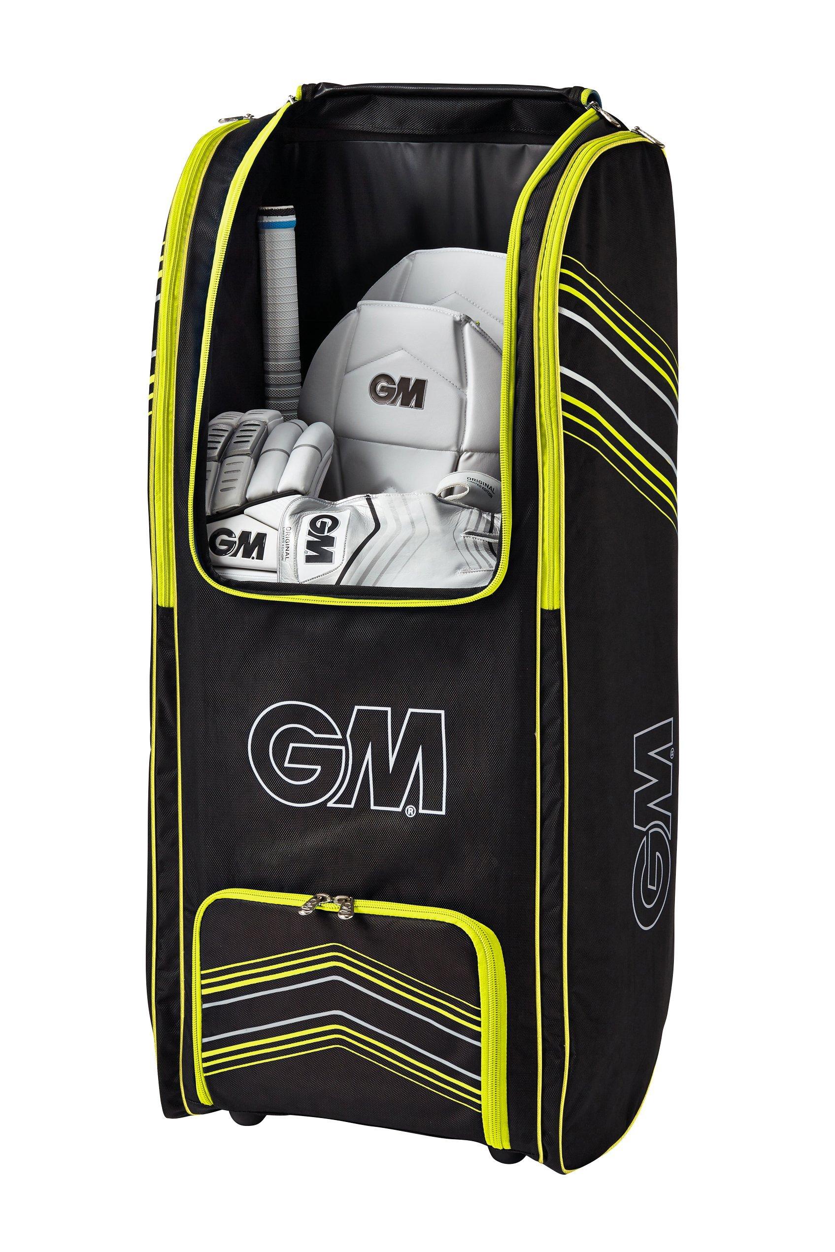 Gunn & Moore Original GM Original Wheelie Duffle Cricket Bag, Black - Yellow