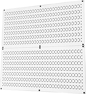 product image for Pegboard Rack Wall Control Home & Garage Tool Storage & Organization White Metal Pegboard Pack - Two 32-Inch x 16-Inch White Steel Peg Board Panels
