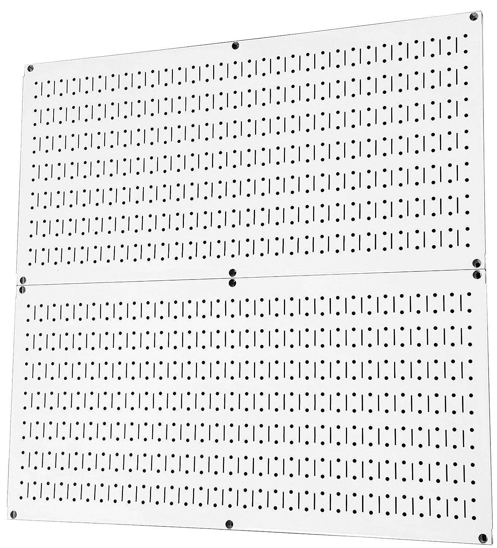 Wall Control Pegboard Rack Home & Garage Tool Storage & Organization White Metal Pegboard Pack - Two 32-Inch x 16-Inch White Steel Peg Board Panels