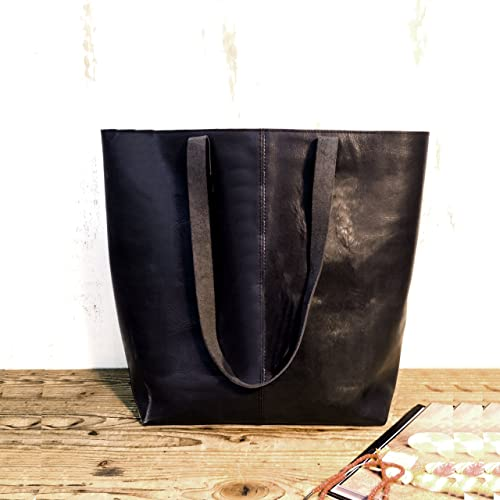 Amazon.com: Black leather tote bag sturdy Handmade shopper handbag ...