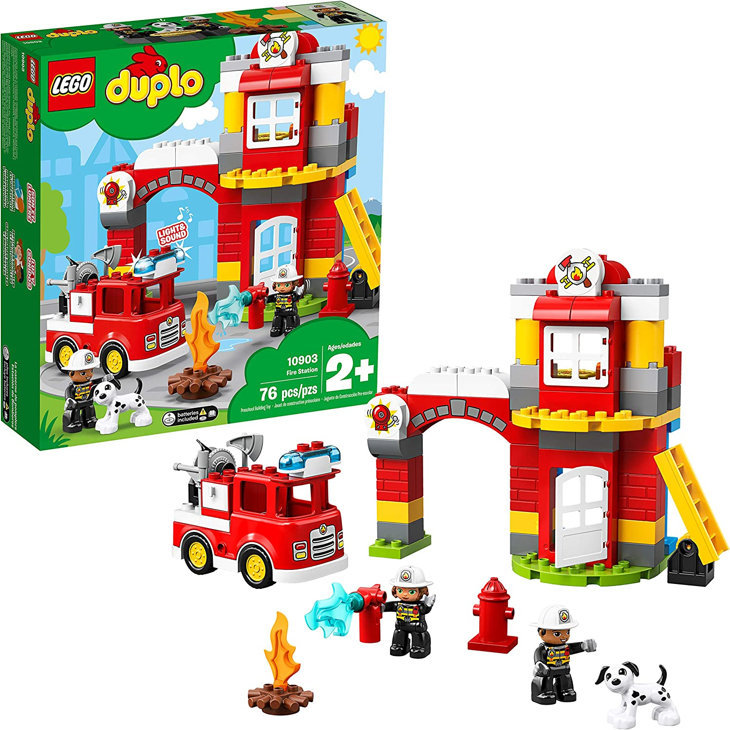 LEGO DUPLO Town Fire Station 10903 Building Blocks, 2019 (76 Pieces)