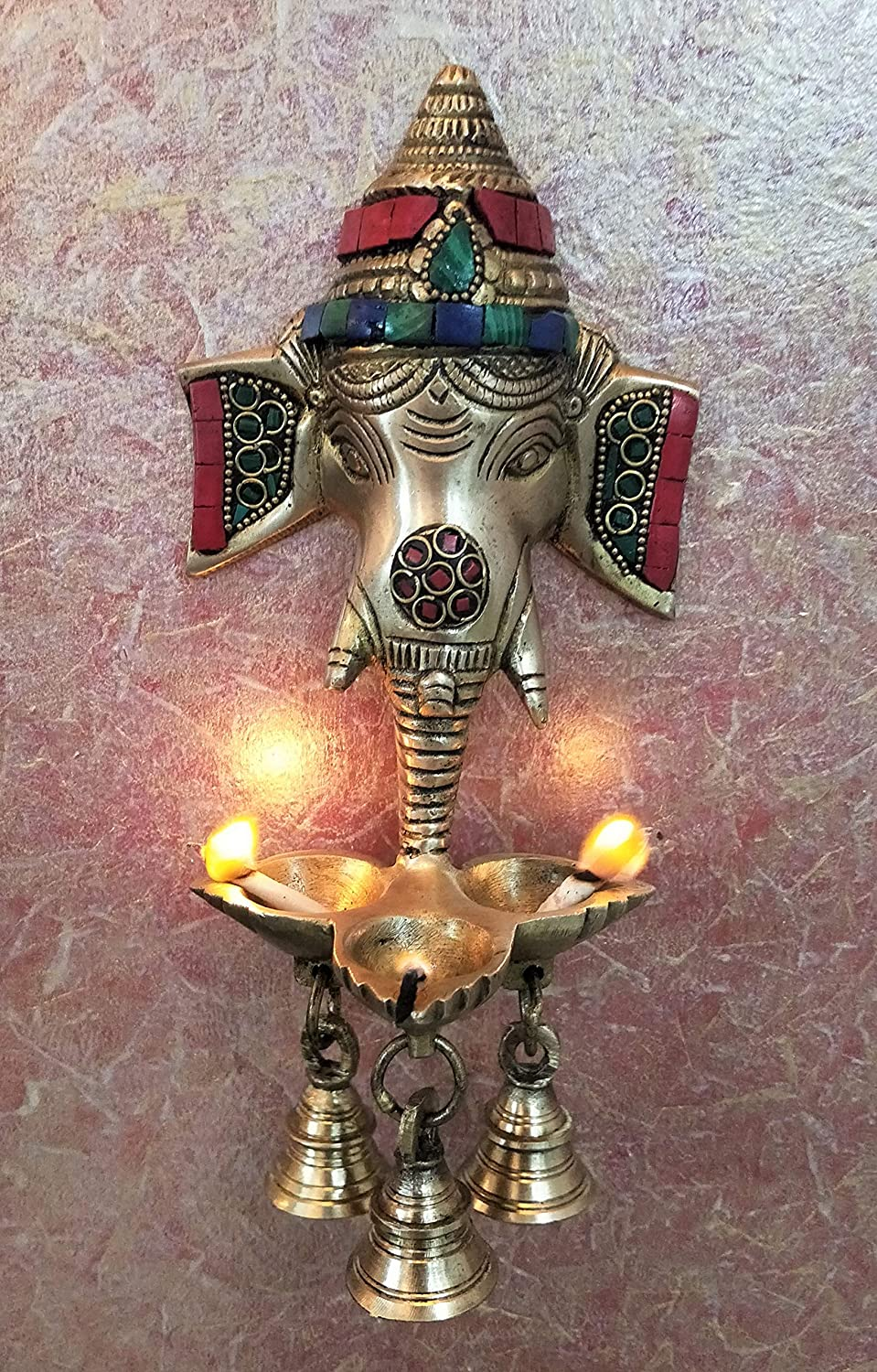 Ganesha Wall Hanging Multicolor Puja Idol Oil Lamp