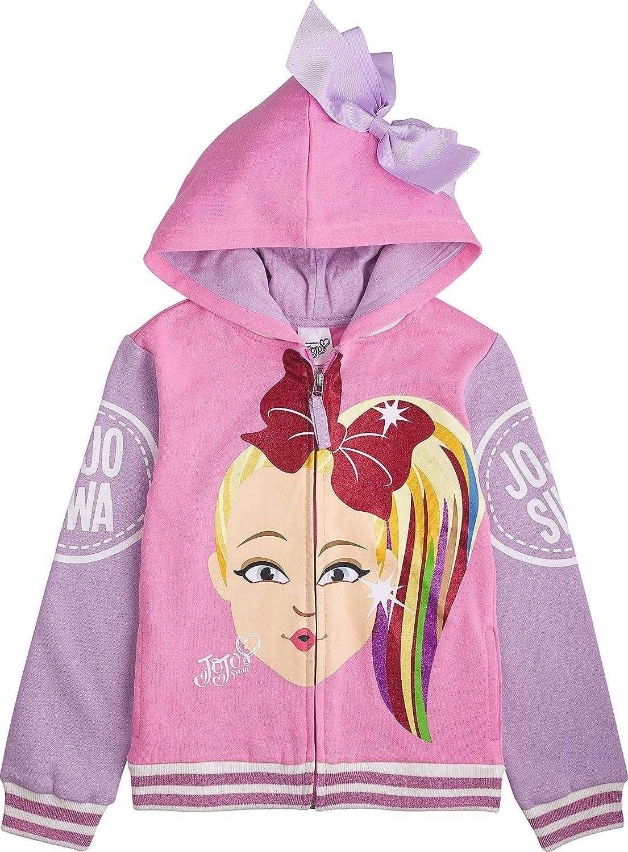 JoJo Siwa Girls Little Big Face Zip Up Hoodie with Bow on Hood