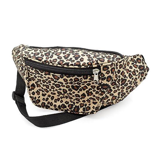 4967a1ecb321 Brown Animal Leopard Print Waist Bag Fanny Pack Money Bum Bag Hip Belt