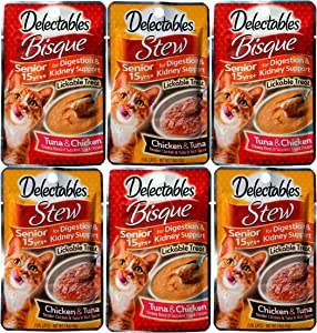 Delectables Stew Senior 15+ Chicken & Tuna Lickable Cat Treat Bisque Senior 15 Years+ Lickable Wet Cat Treats. Two Flavors, 3 Pouches of Each Flavor. Variety Pack 6 Count Total