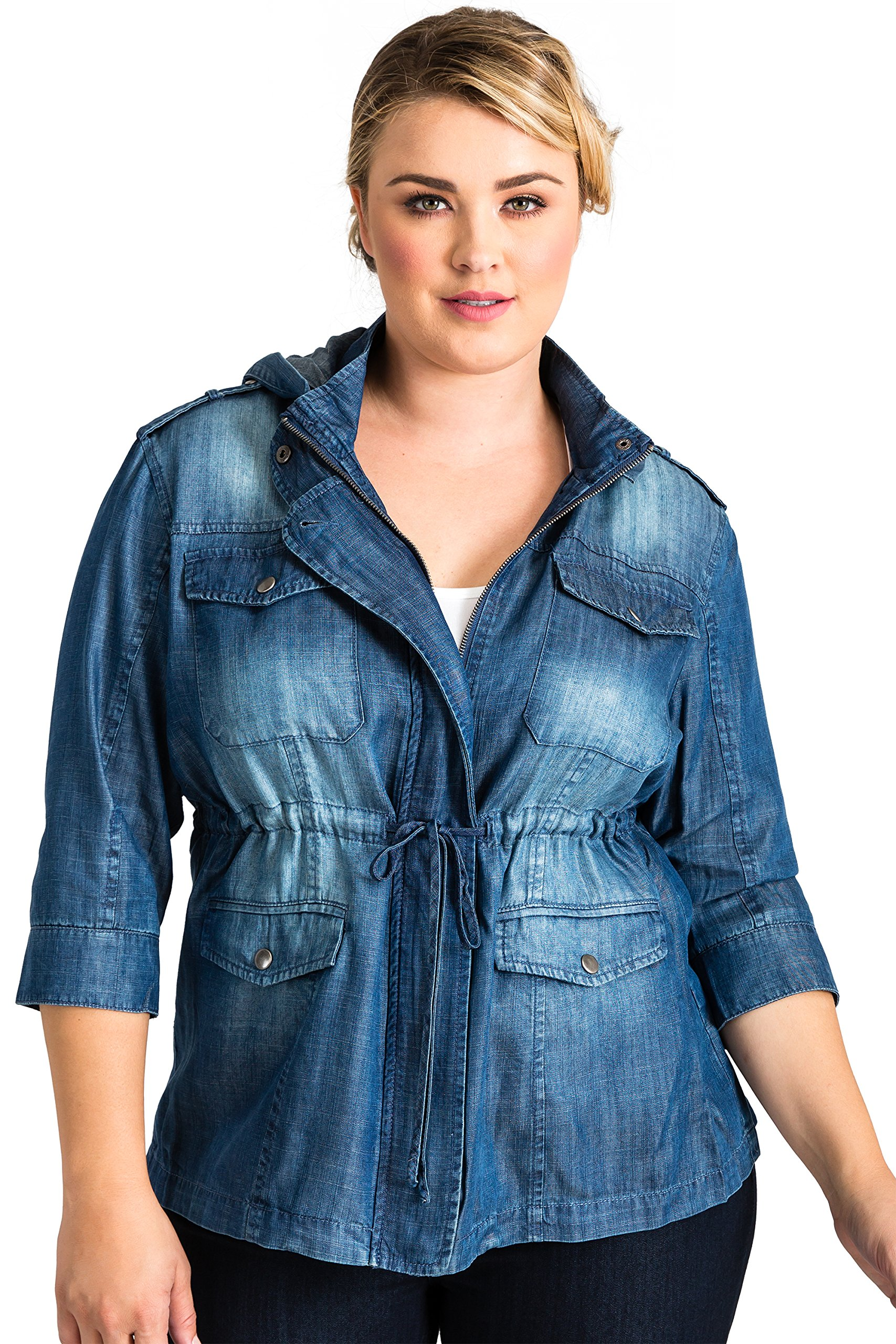 Standards & Practices Curvy Women's Plus Size Tencel Denim Zip up Safari Hooded Jacket Size 1X