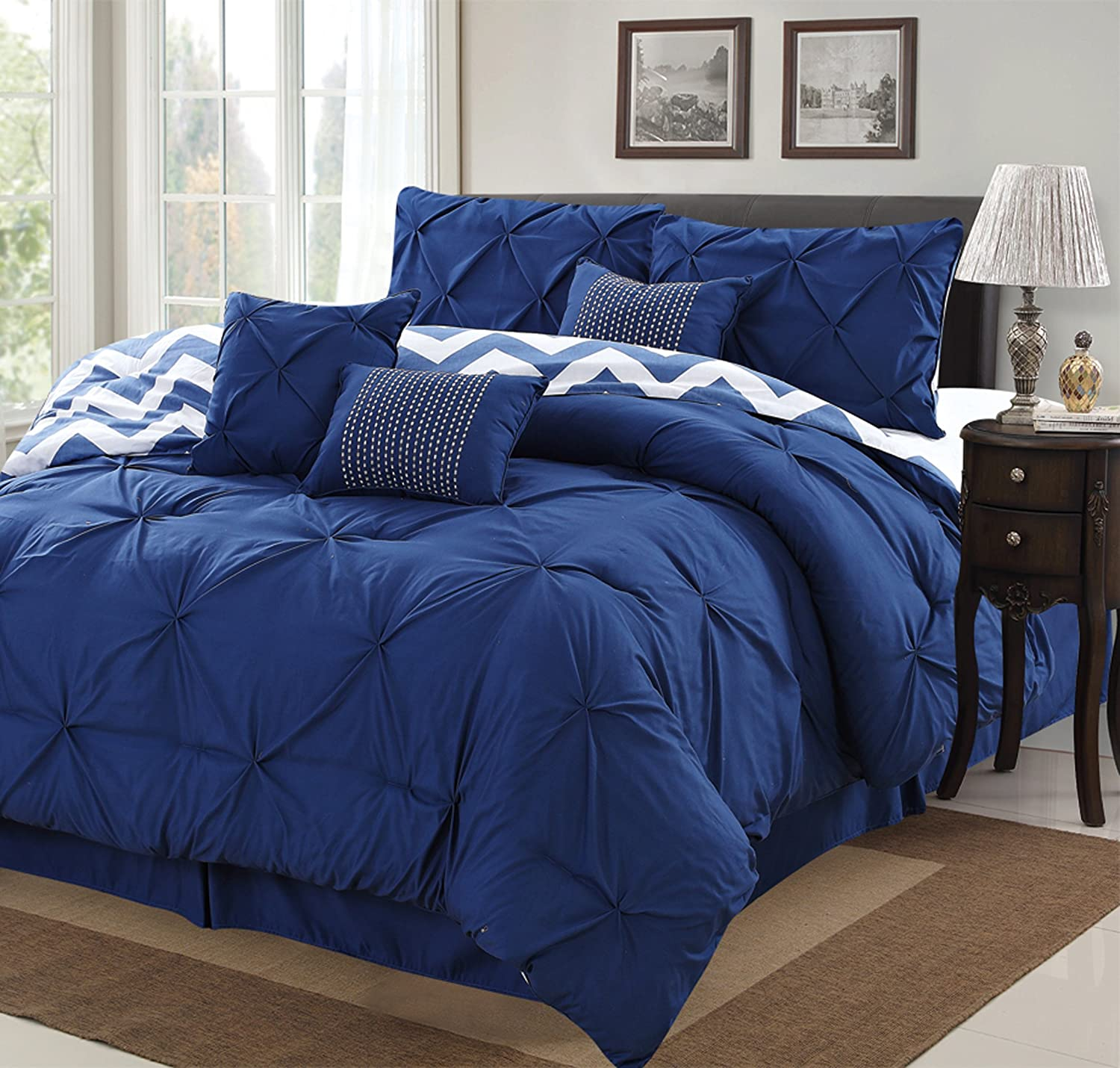 7 Piece Modern Pinch Pleated Comforter Set (King, Navy Blue