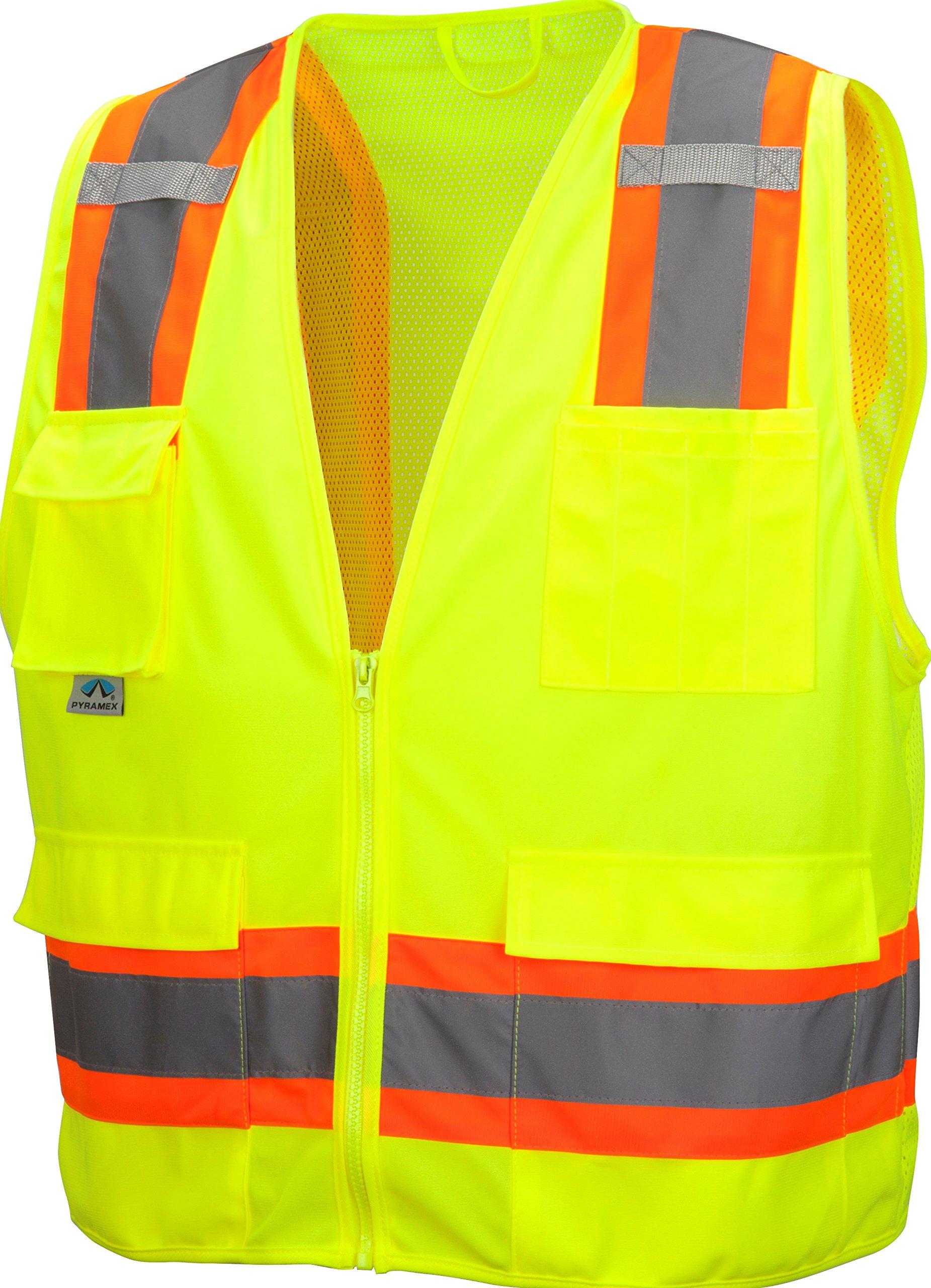 Pyramex RVZ2410SEX5 Lumen X Class 2 Self-Extinguishing Surveyor's Safety Vest, 5X-Large, Hi-Vis Lime