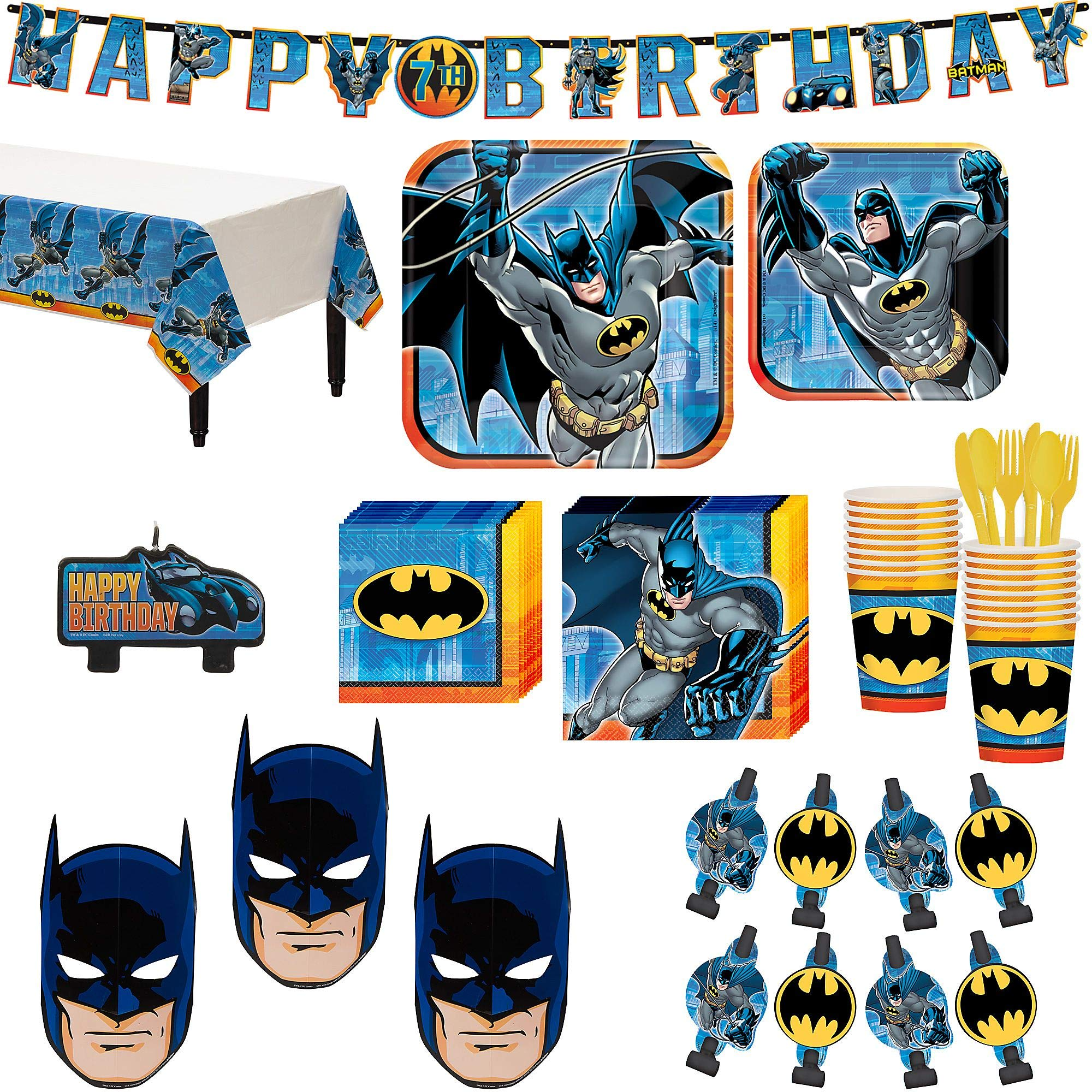 Batman Superhero Birthday Party Kit, Includes Happy Birthday Banner, Candles and Eye Masks, Serves 16, by Party City