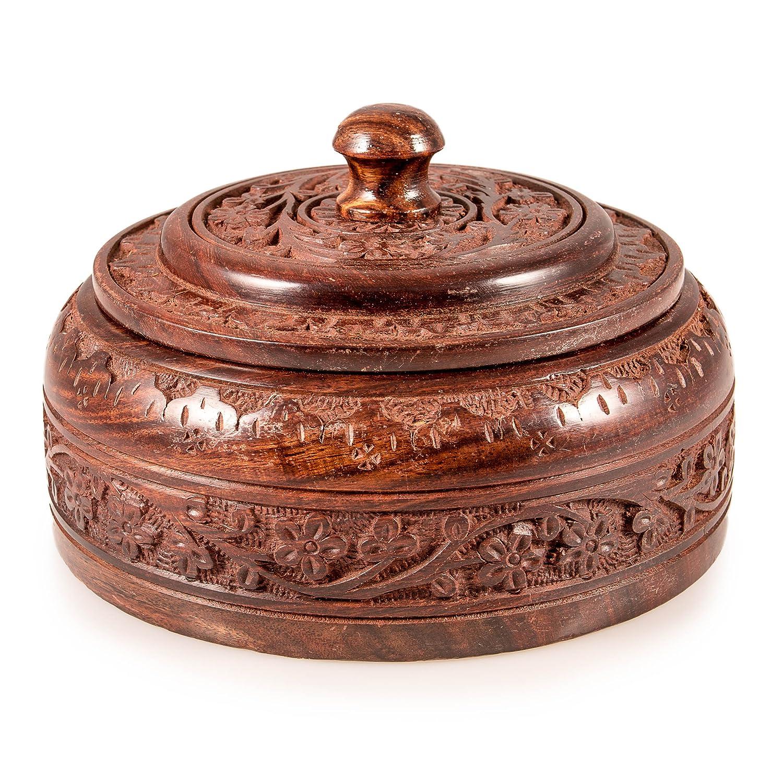Autentica scatola indiano di legno fatta a mano (Dabba) Indian Tiffin