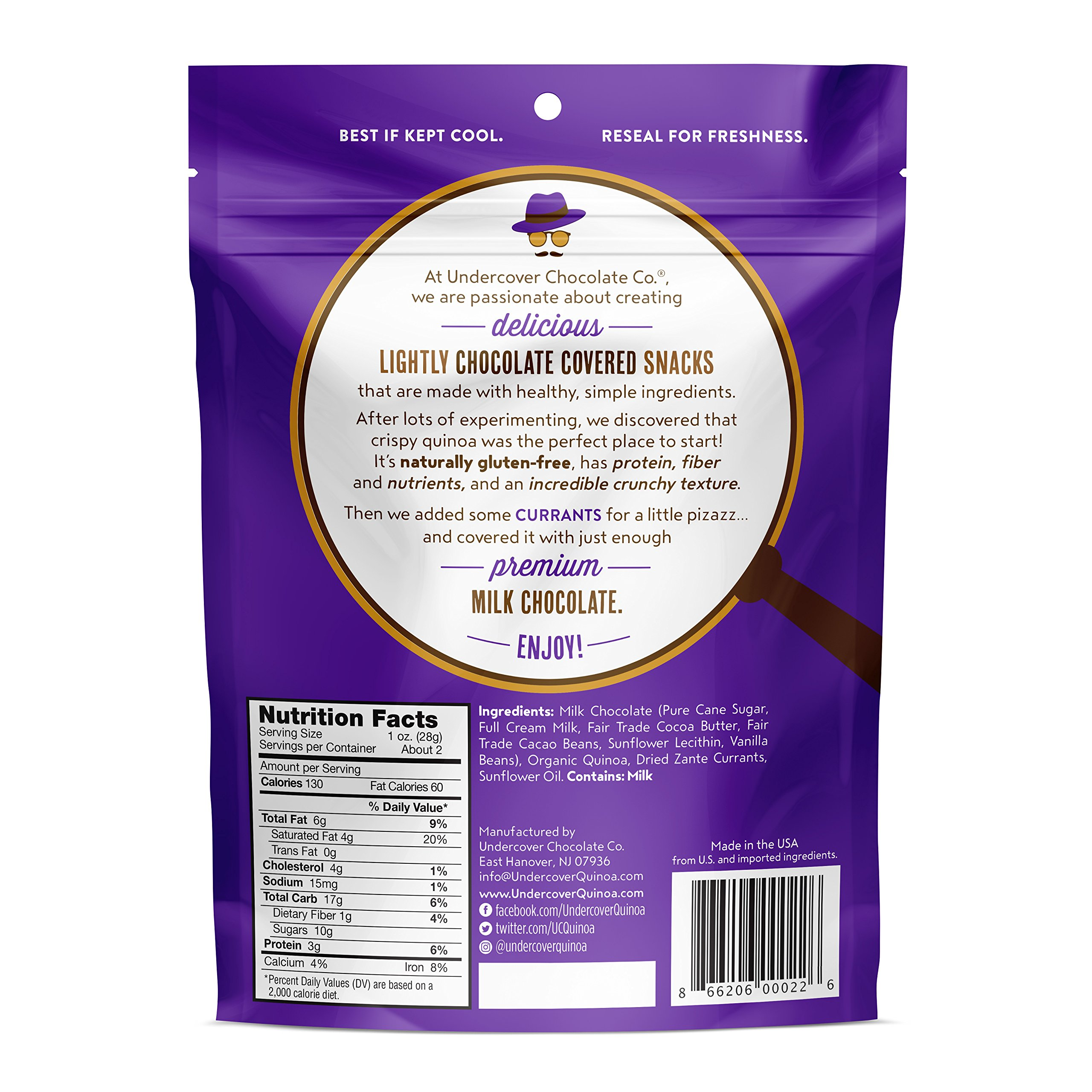 Undercover Quinoa Sampler Pack, Chocolate Crispy Quinoa Snack, Gluten-Free, 8 2 oz. bags: 2 Milk Chocolate, 2 Dark Chocolate+Sea Salt, 2 Milk Chocolate+Currants, 2 Dark Chocolate+Blueberries by Undercover Quinoa