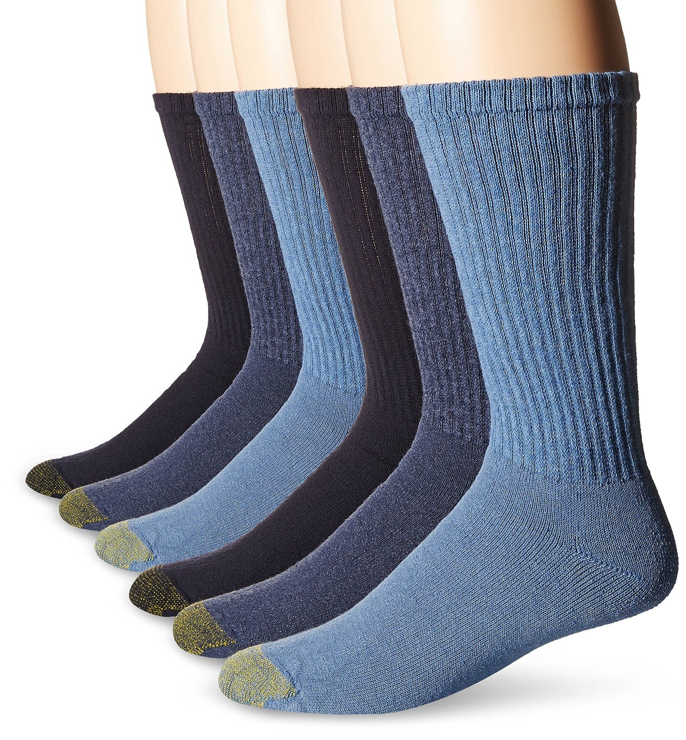 Gold Toe Men's 12-Pack Cotton Crew Athletic Sock, Assorted Blues, 10-13 (Shoe Size 6-12.5) by Gold Toe