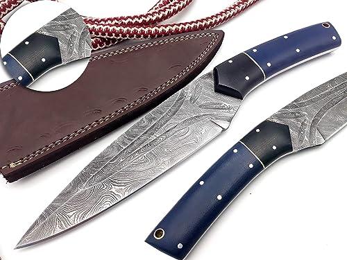 Nooraki BK-69 Handmade Damascus Steel Knife for Hunting 11 Knife – Beautiful Rose Wood Bone Bull Horn Handle