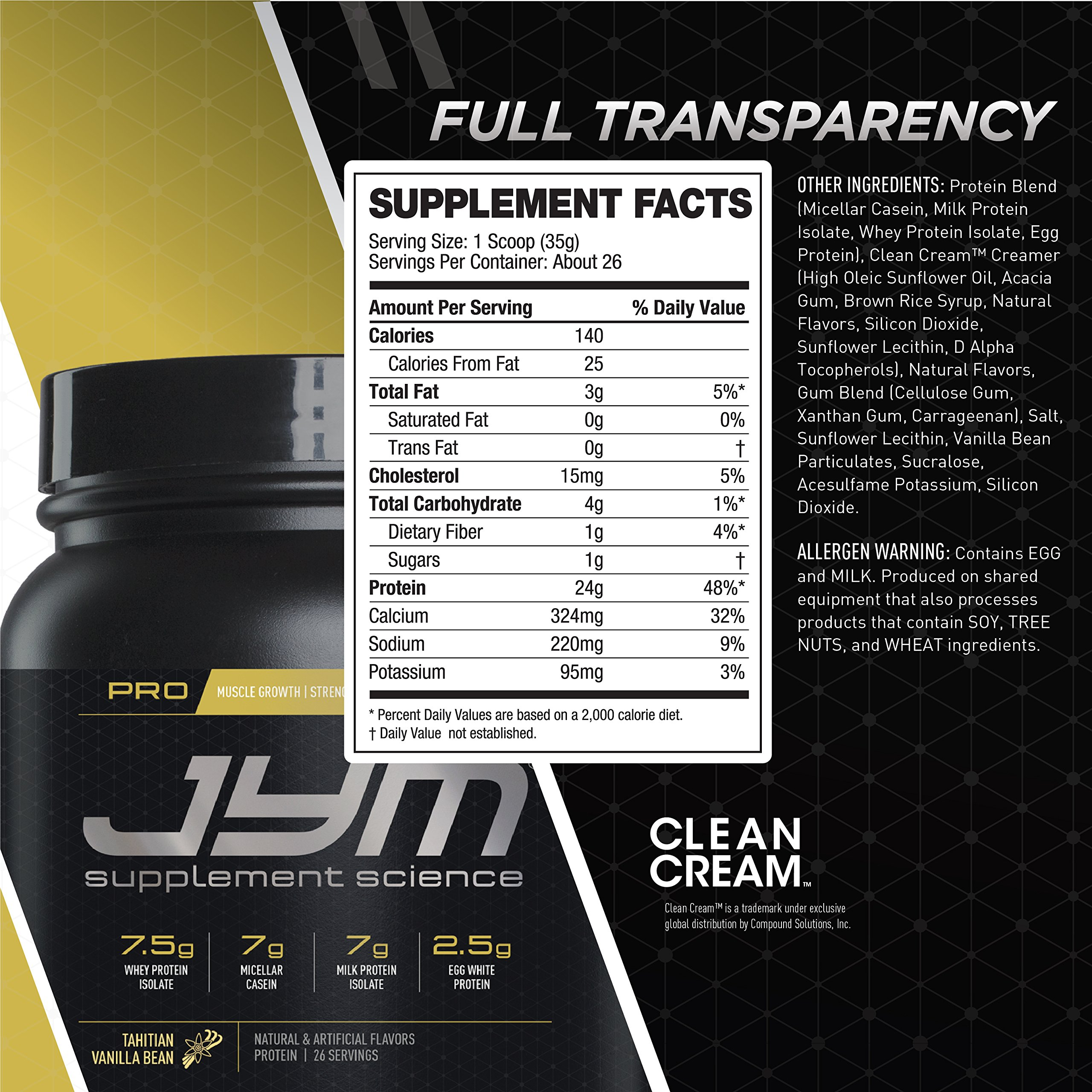 Pro Jym Protein Powder - Egg White, Milk, Whey protein isolates & Micellar Casein   JYM Supplement Science   Tahitian Vanilla Bean Flavor, 4 Lb by JYM Supplement Science (Image #3)