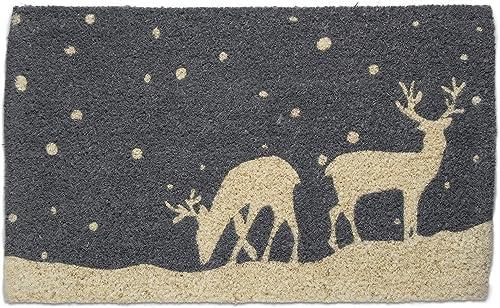 Tag Falling Snow Deer Reindeer Buck Lodge Cabin Christmas Doormat Xmas Holiday Christmas Coir Doormat Mat 1 6 x 2 6 Blue