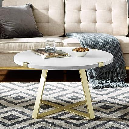 Overstock White Coffee Table.Amazon Com Overstock 31 Round Metal Wrap Coffee Table 31 X 31 X
