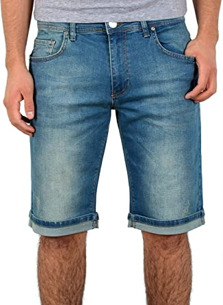 Jeans Bermudas Baumwolle Dunkelblau Waschung Umschlag Shorts Denim Hose Capri