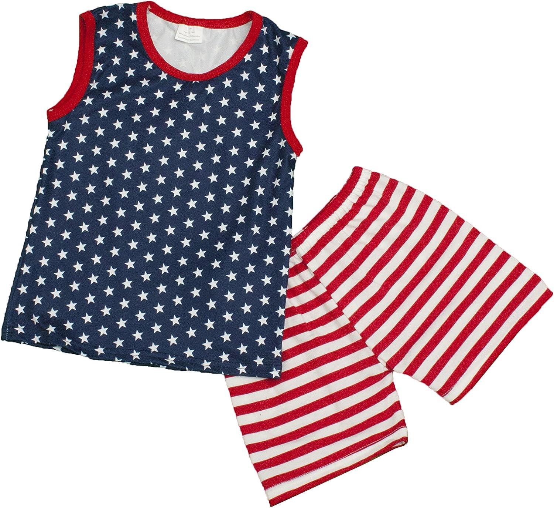 2 Pc Boys Patriotic 4th of July Tank Top /& Shorts Set