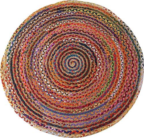 8 ft Large Round Chindi Jute Rag Rug