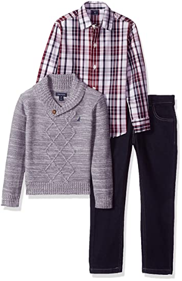 and Denim Pants Coal Heather Boy/'s Nautica Three Piece Sweater Shirt