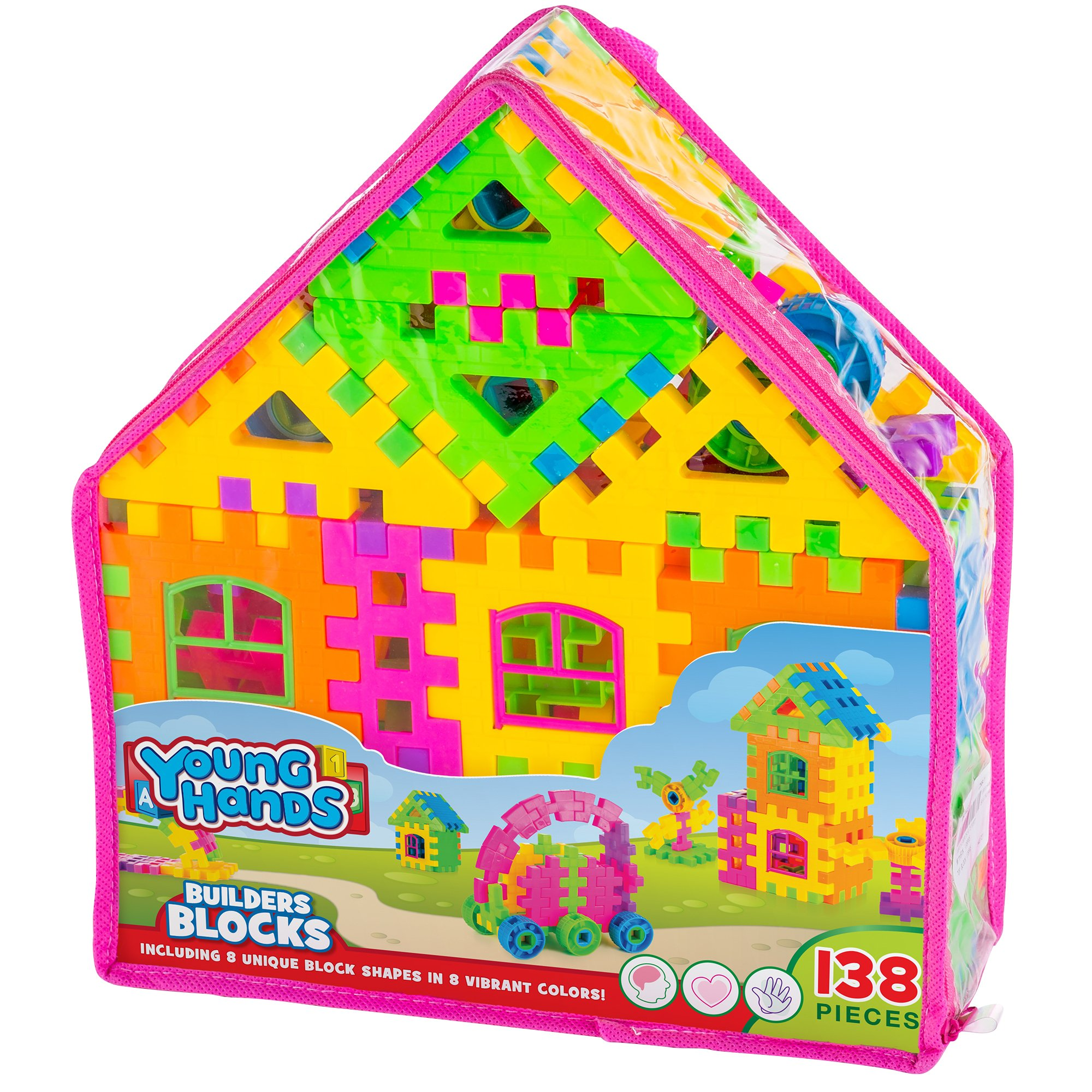 Creative Kids Interlocking Building Block Play Set for Kids w/ 138 Unique, Colorful Bricks & Convenient Carry Backpack - Educational Construction Kit for Preschool, Kindergarten & More