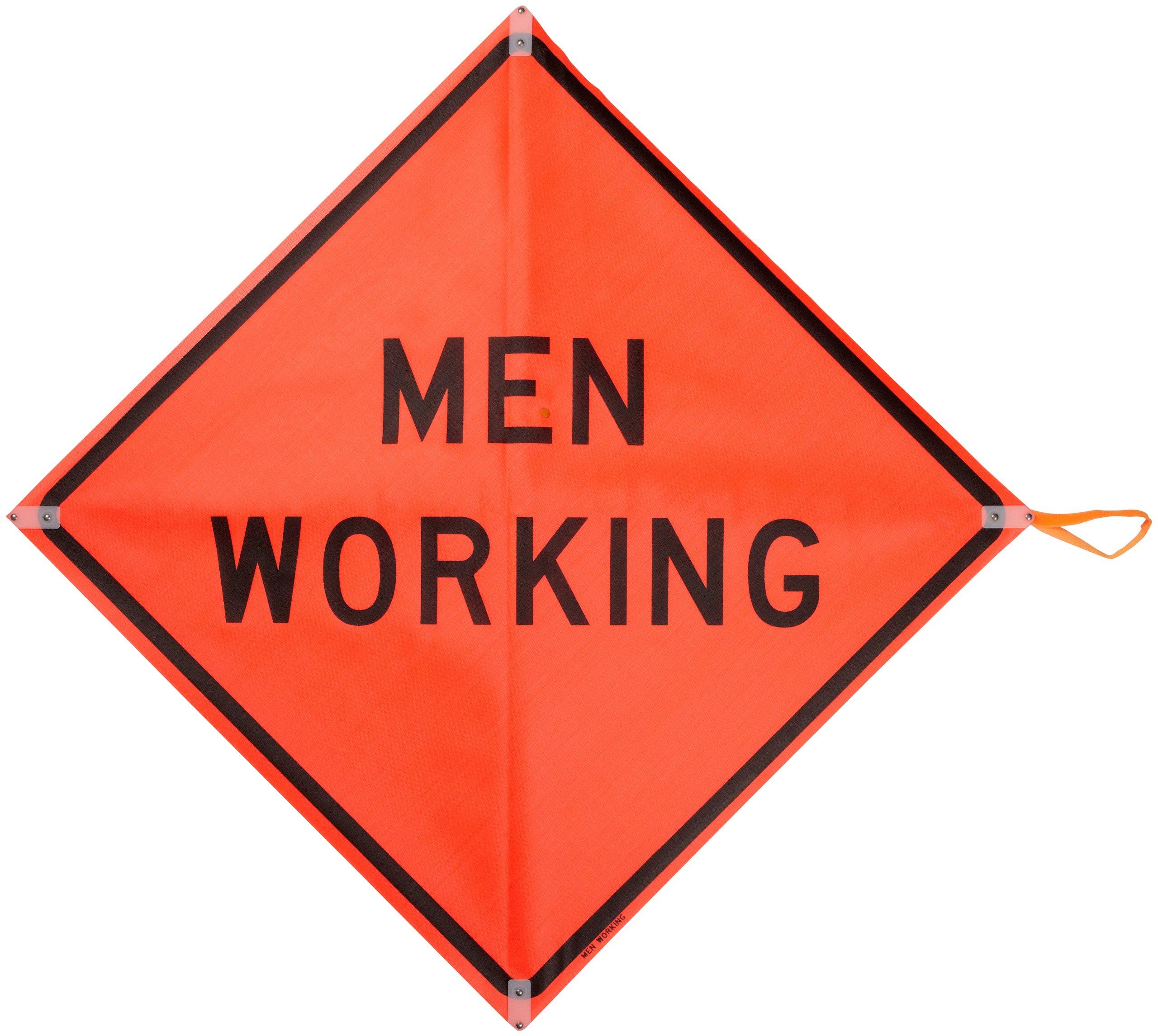 Brady 56800 48'' Width x 48'' Height Mesh, Black on Orange Roll-Up Signs, Legend ''Men Working''