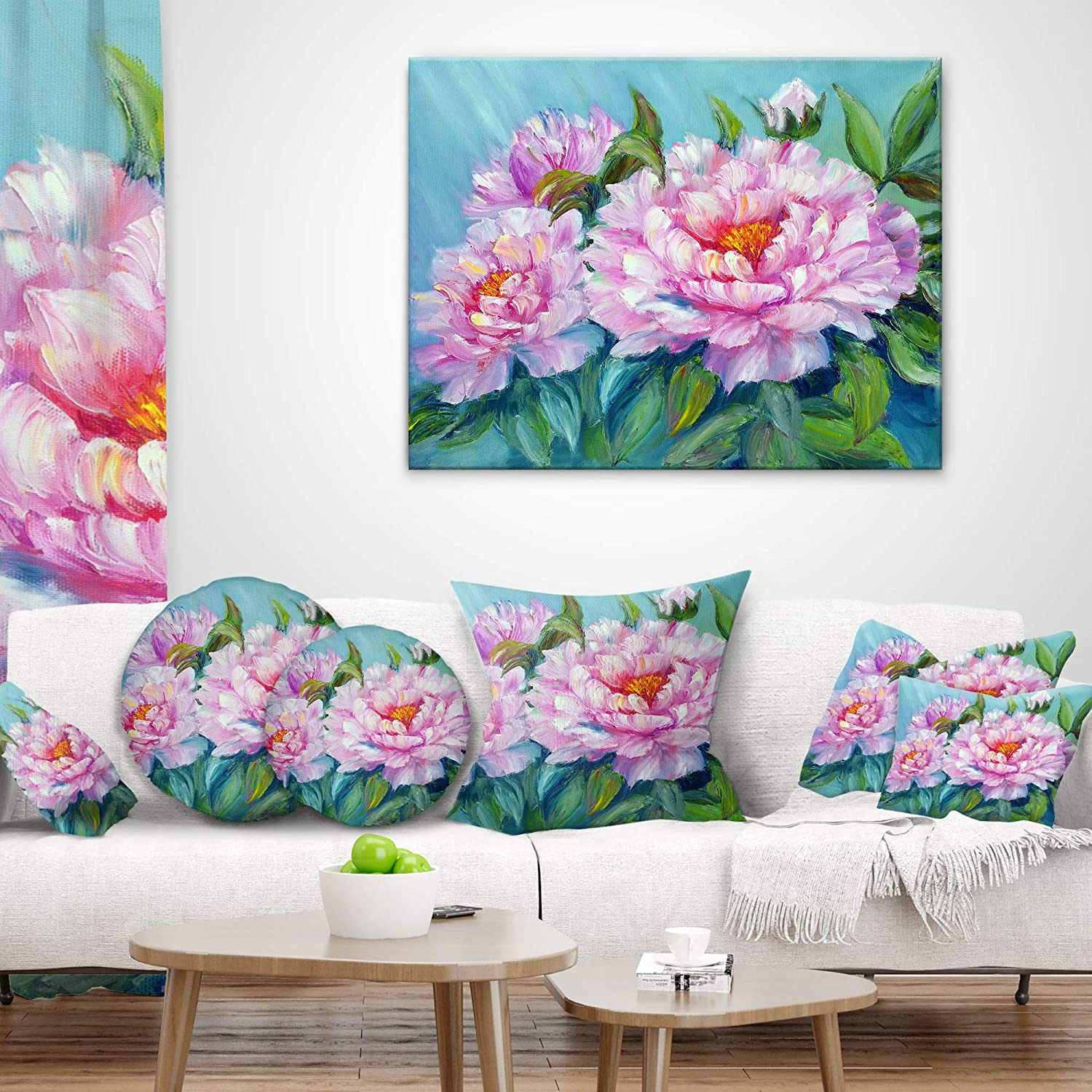 Designart CU6301-16-16-C Pink Peonies Floral Throw Cushion Pillow Cover for Living Room 16 Round Sofa