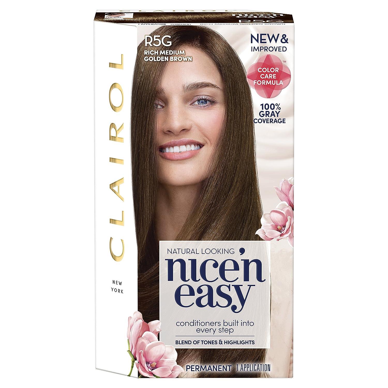 Clairol Nice'n Easy Permanent Hair Color, R5G Rich Medium Golden Brown, Pack of 1