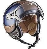 SOXON SP-325-URBAN Blue · Bobber Biker Pilot Vespa-Helm Motorrad-Helm Retro Helmet Vintage Roller-Helm Scooter-Helm Cruiser Mofa Chopper Jet-Helm ,ECE zertifiziert ,Leder Design ,inkl. Sonnenvisier ,inkl. Stofftragetasche ,Blau · L (59-60cm)