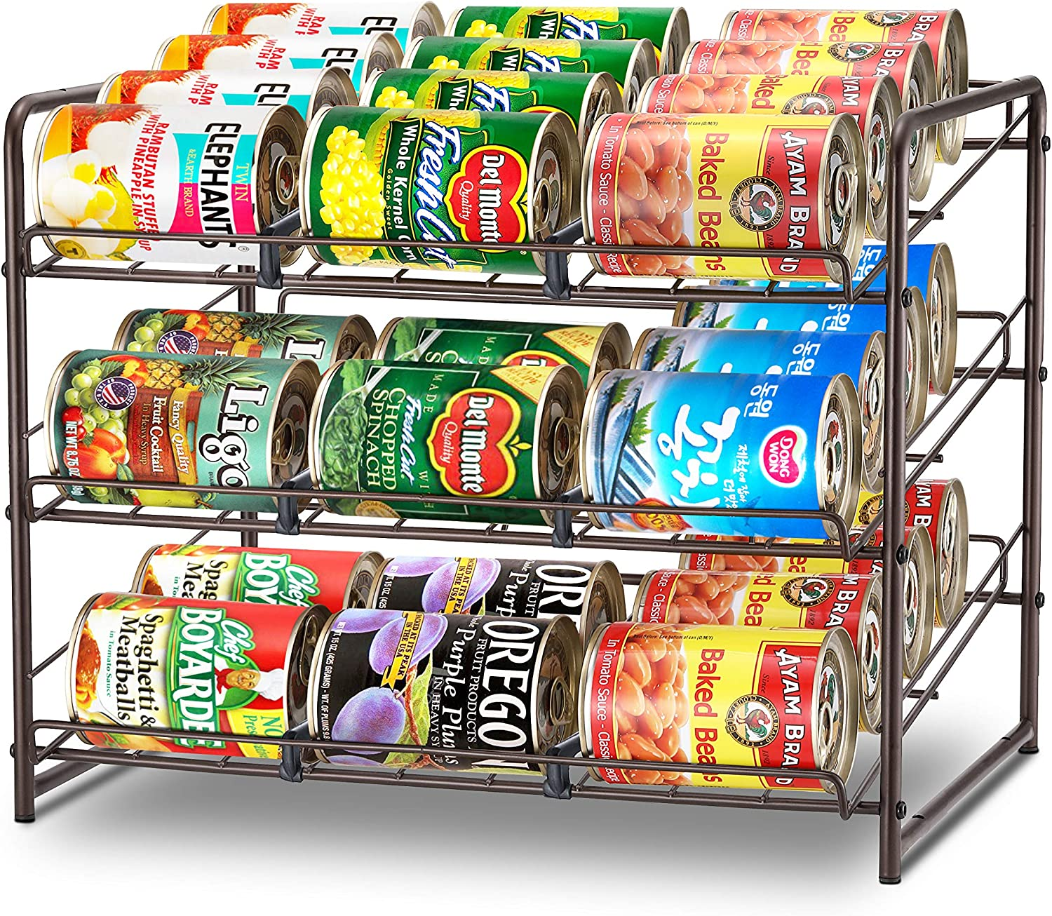 Simple Trending Can Rack Organizer, Stackable Can Storage Dispenser Holds up to 36 Cans for Kitchen Cabinet or Pantry, Bronze