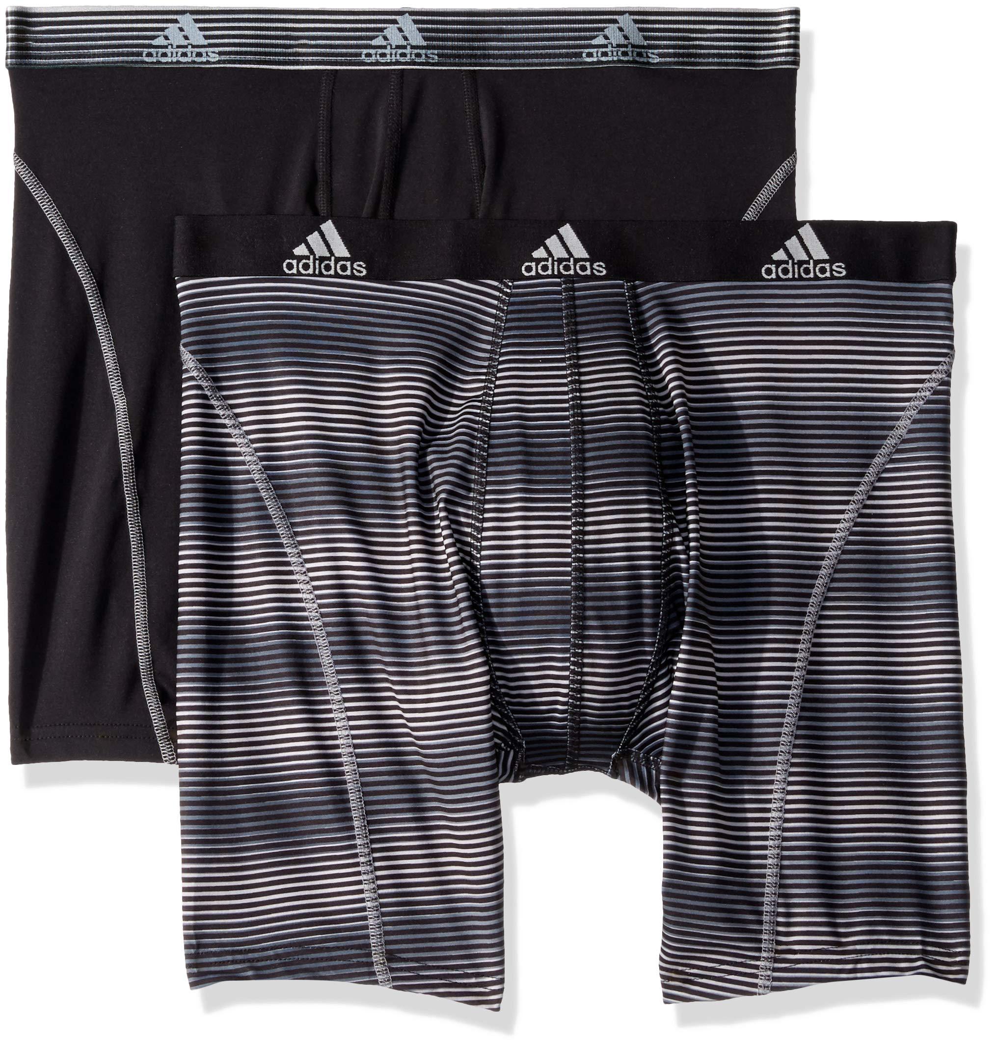 adidas Men's Sport Performance Midway Underwear (2-Pack), Sundown Black Black/Grey, SMALL by adidas