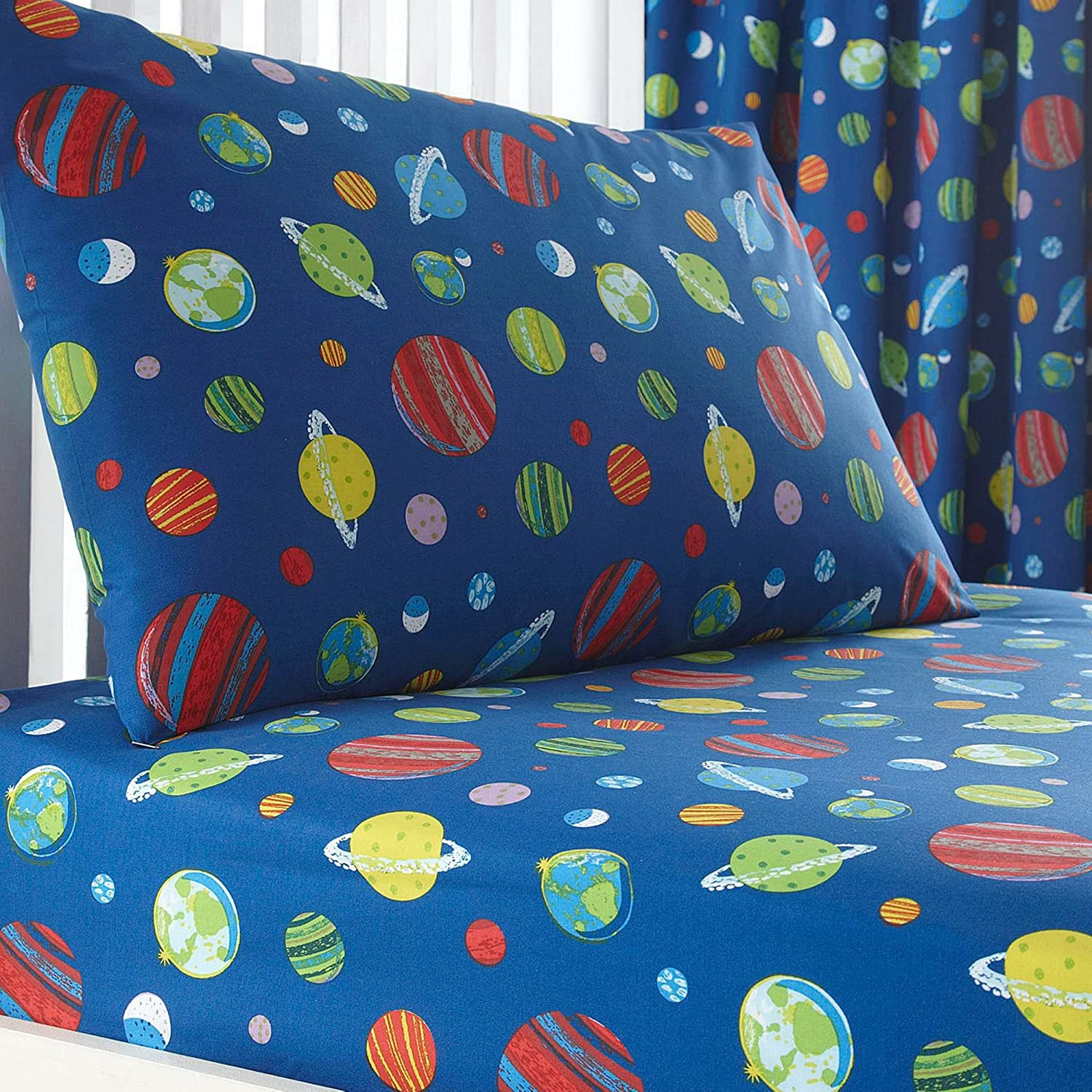 Debenhams Bluezoo Kids' Blue Space Print Fitted Sheet And Pillow Case Set Toddler