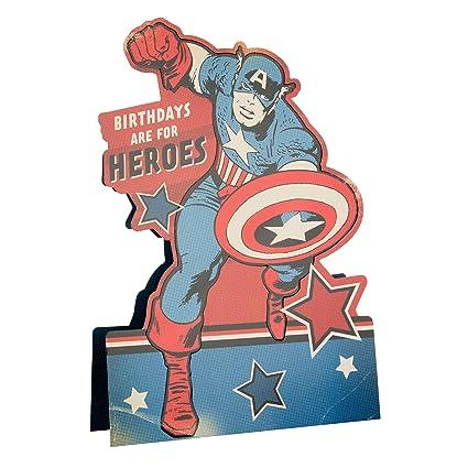 Hallmark Marvel Stand Up tarjeta de felicitación de cumpleaños de Capitán América – Medium