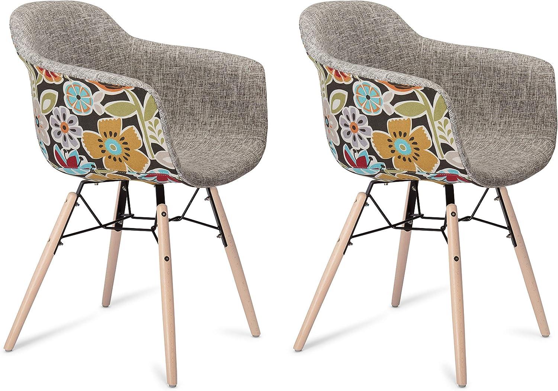 Furnhouse Moderne Scandinave Rétro Vintage Design Chaise de salle à manger Flame, Rouge Gris Tissu, Hêtre Bois, Métal Naturel Pieds, Lot de 2,