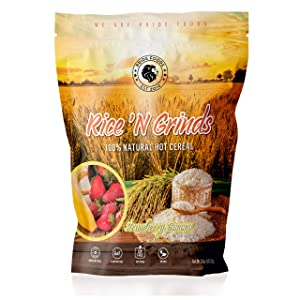 Pride Foods Rice 'N Grinds, 100% Natural Hot Rice Cereal, Strawberry Banana, 20oz