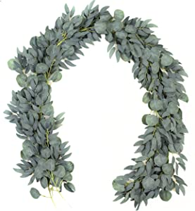 2 Pack - Artificial Eucalyptus Garland with Willow Vines, 6.5' Long Faux Eucalyptus Garland Greenery, Silver Dollar Eucalyptus Leaves Fake Greenery Garland Wedding Backdrop Arch Wall Decor