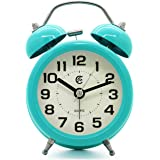"JCC 3"" Retro Twin Bell Silent Non Ticking Sweep Second Hand Bedside Desk Analog Quartz Movement Alarm Clock with 5 min Snooze Repeat Alarm, Nightlight and Loud Alarm, Battery Operated (Turquoise)"