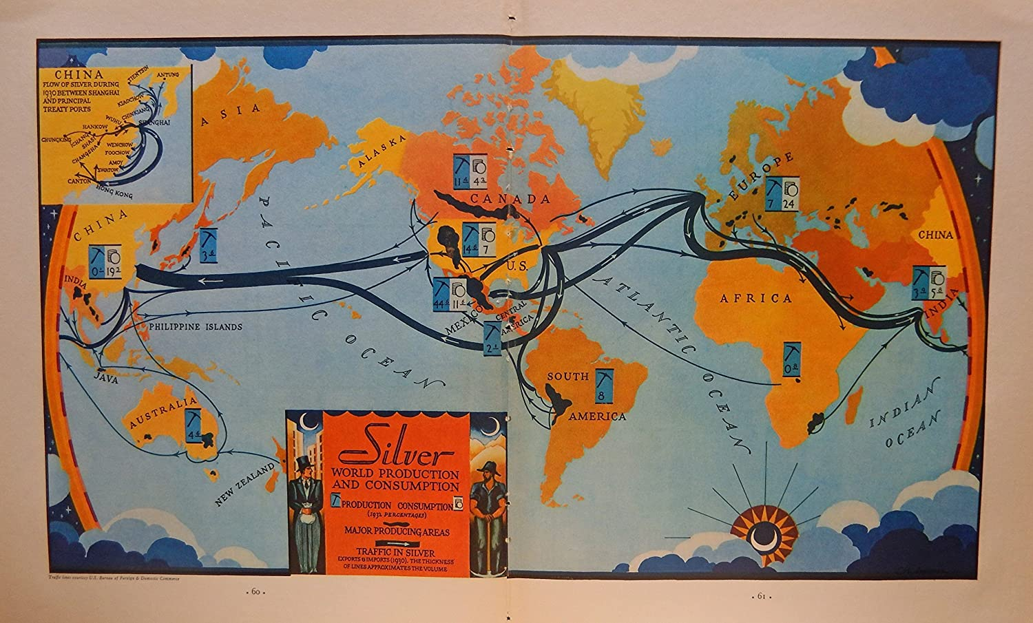 World Map 1933.Amazon Com Silver World Production And Consumption Traffic In