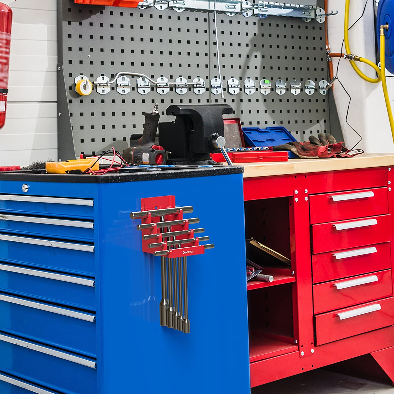 Holds 5 T-Handles Heavy Duty and Improved T-Handle Rack Red Olsa Tools Magnetic T-Handle Holder for Tool Storage