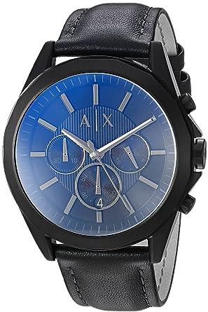fb3f083834 Armani Exchange Homme Chronographe Quartz Montre avec Bracelet en Cuir  AX2613