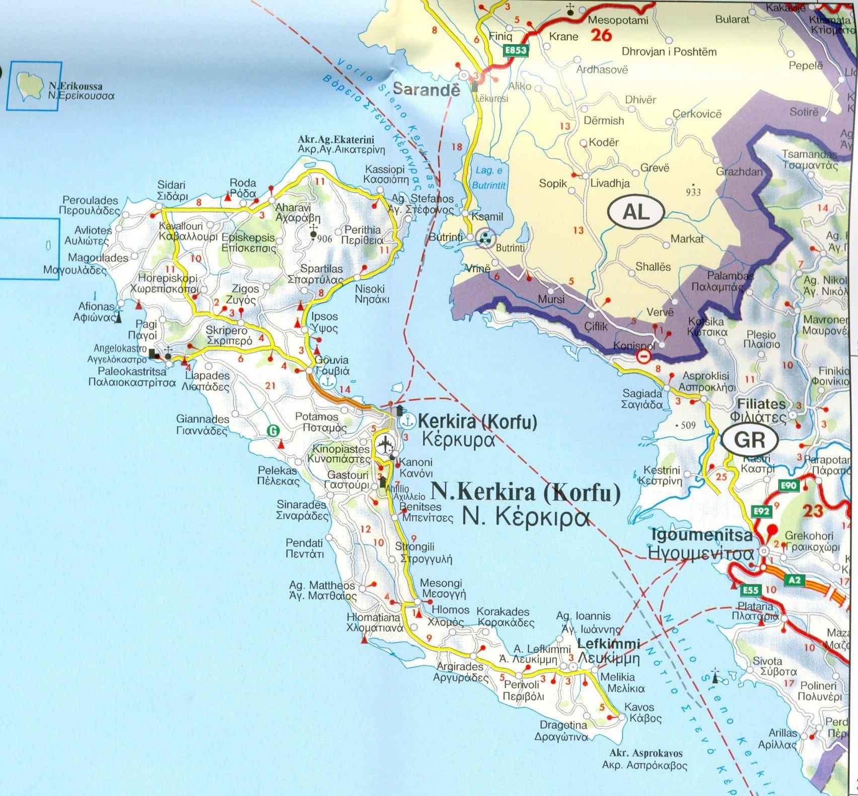 Corfu Korfu 150k Road Map Amazoncouk FreytagBerndt maps Books