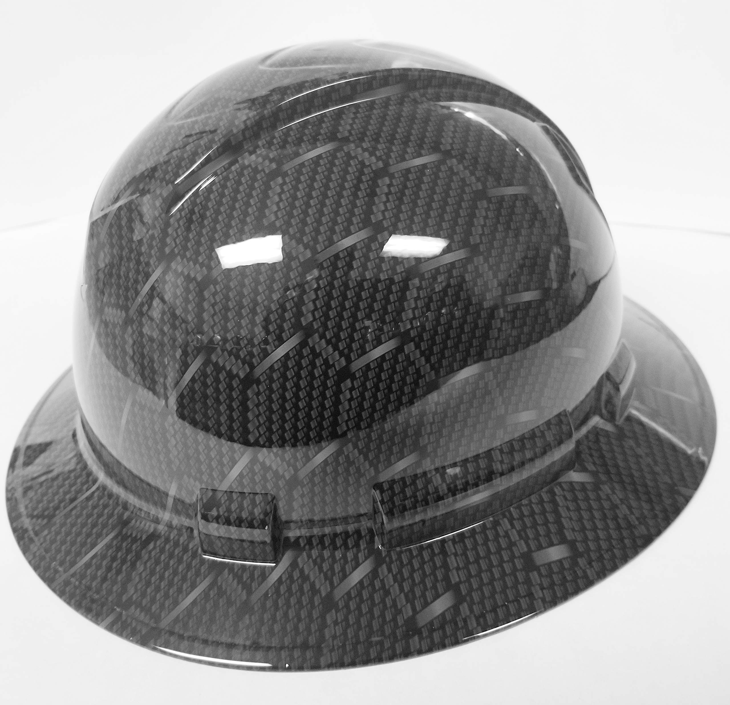 Wet Works Imaging Customized Pyramex Full Brim HEX Weave Carbon Fiber 3D Limited Hard HAT with Ratcheting Suspension Custom LIDS Crazy Sick Construction PPE by Wet Works Imaging (Image #6)