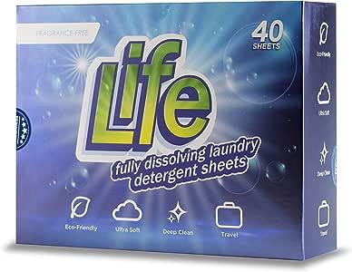 LIFE LDS40 Dissolving Laundry Detergent Sheets, 40 Count