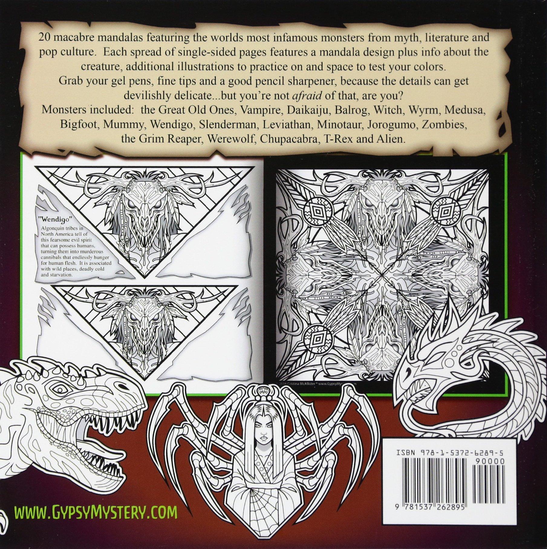 amazon com monstrous mandalas coloring book 9781537262895