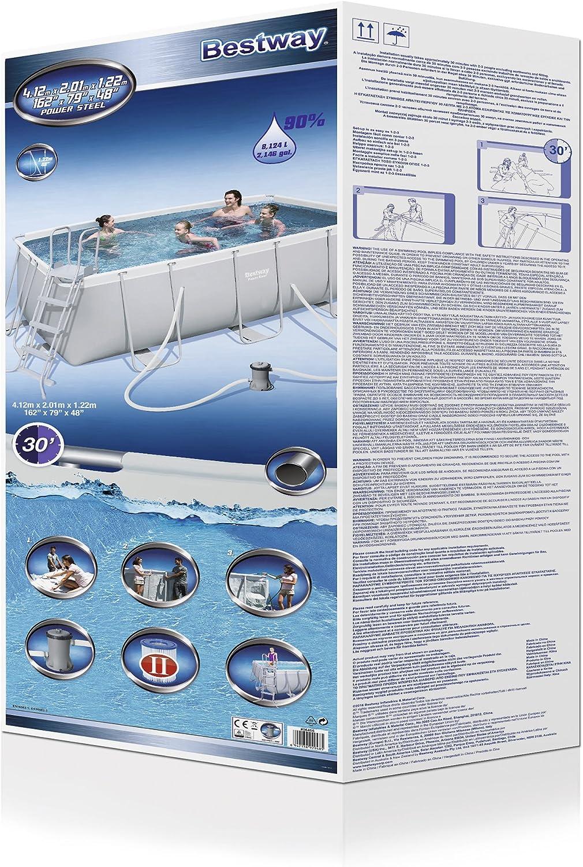 BESTWAY 8321295 Piscina Rectangular Con Depuradora 412x201x122 cm ...