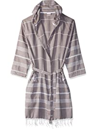 8695cf533d Cacala Hooded Bathrobe Pestemal Fabric 100% Turkish Cotton Kimono Unisex